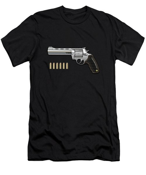 .44 Magnum Colt Anaconda With Ammo On Brown Velvet  Men's T-Shirt (Athletic Fit)