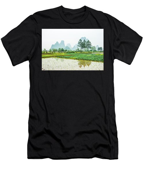 Men's T-Shirt (Athletic Fit) featuring the photograph Karst Rural Scenery In Spring by Carl Ning