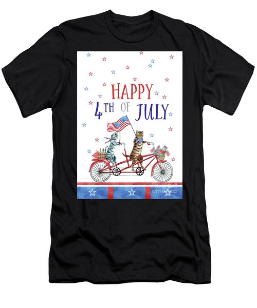 4th Of July Cats On Bike 3 Card Men's T-Shirt (Athletic Fit)