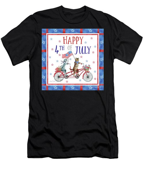 4th Of July Cats On Bike Men's T-Shirt (Athletic Fit)