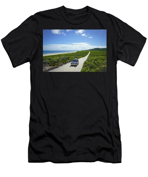 4wd Car Exploring Remote Track On Sand Island Men's T-Shirt (Athletic Fit)
