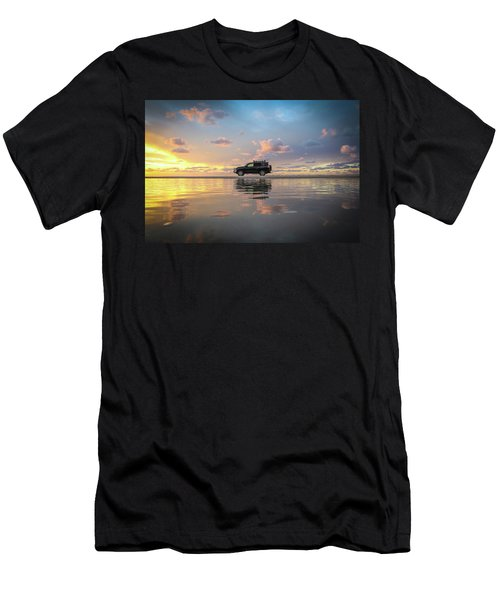 4wd Vehicle And Stunning Sunset Reflections On Beach Men's T-Shirt (Athletic Fit)
