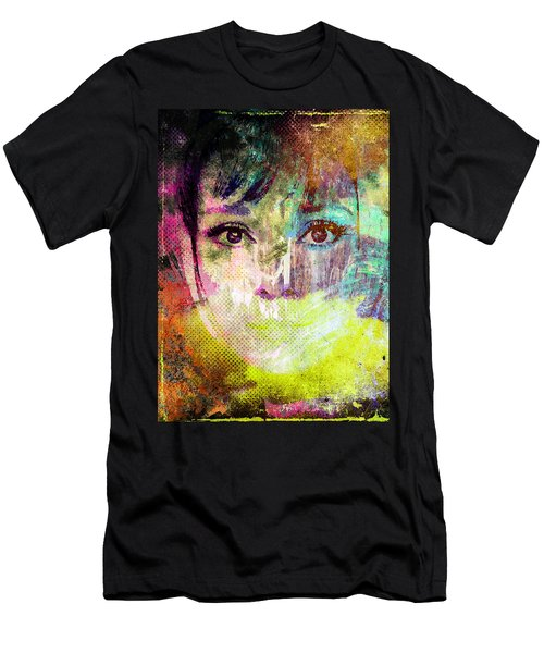 Men's T-Shirt (Slim Fit) featuring the mixed media Audrey Hepburn by Svelby Art