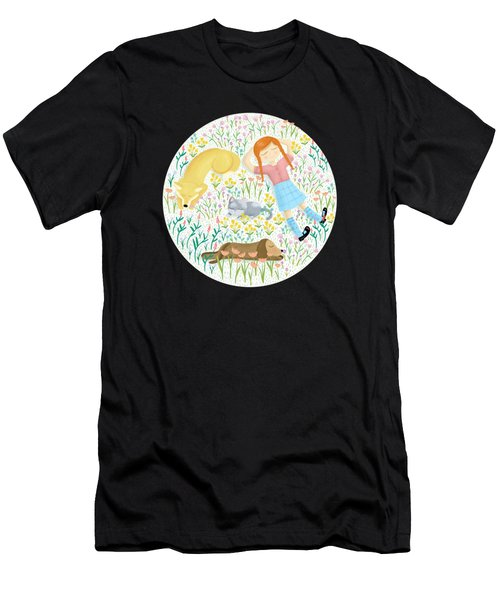 Summer Afternoon With Dogs, Cats And Clouds Men's T-Shirt (Athletic Fit)