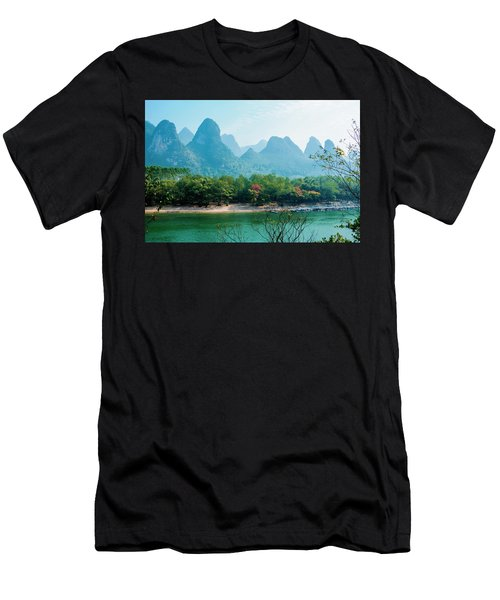 Men's T-Shirt (Athletic Fit) featuring the photograph Lijiang River And Karst Mountains Scenery by Carl Ning
