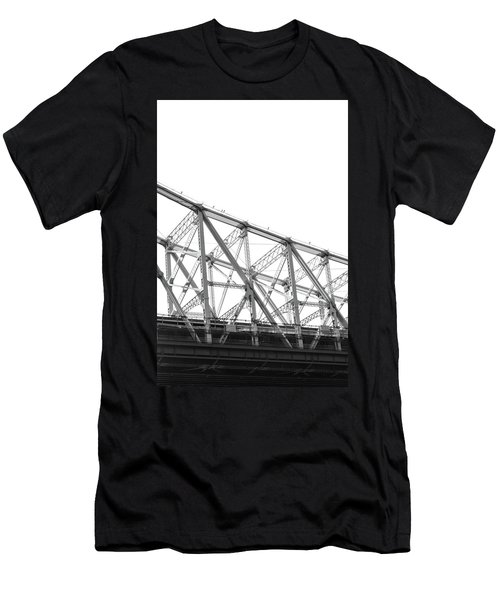 59th Street Bridge, Black And White Men's T-Shirt (Slim Fit) by Sandy Taylor