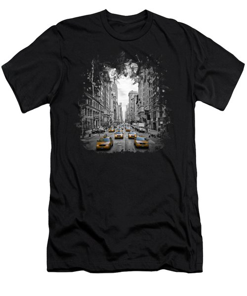 5th Avenue Nyc Traffic II Men's T-Shirt (Slim Fit) by Melanie Viola