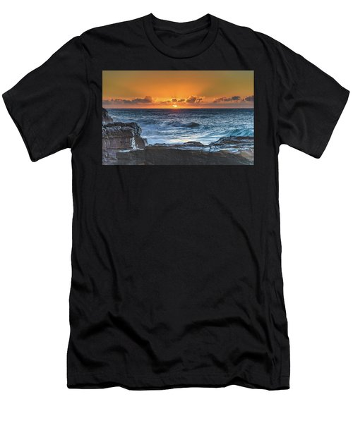Sunrise Seascape With Sun Men's T-Shirt (Athletic Fit)
