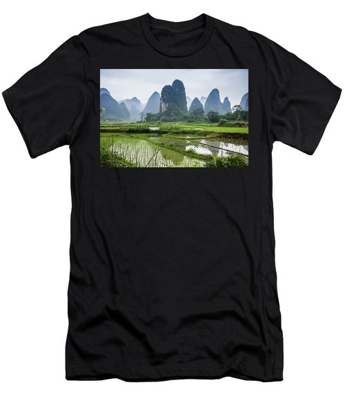 The Beautiful Karst Rural Scenery In Spring Men's T-Shirt (Athletic Fit)