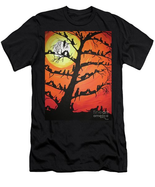 60 Cats In The Love Tree Men's T-Shirt (Slim Fit) by Jeffrey Koss