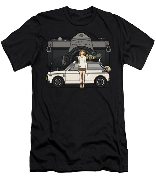 Honda N600 Rally Kei Car With Japanese 60's Asahi Pentax Commercial Girl Men's T-Shirt (Athletic Fit)