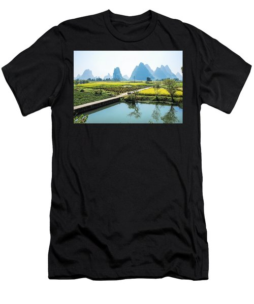 Rice Fields Scenery In Autumn Men's T-Shirt (Athletic Fit)