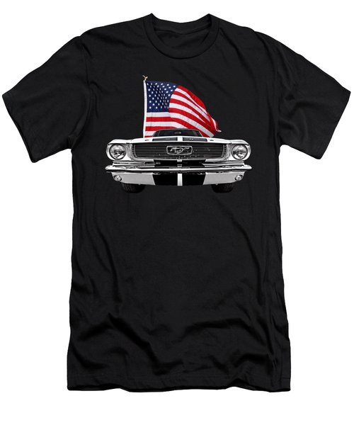 66 Mustang With U.s. Flag On Black Men's T-Shirt (Athletic Fit)