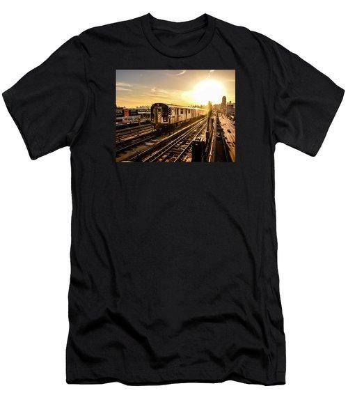 7 Train Sunset Men's T-Shirt (Athletic Fit)
