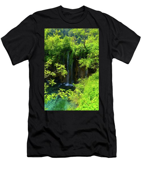 Waterfall In Plitvice National Park In Croatia Men's T-Shirt (Athletic Fit)