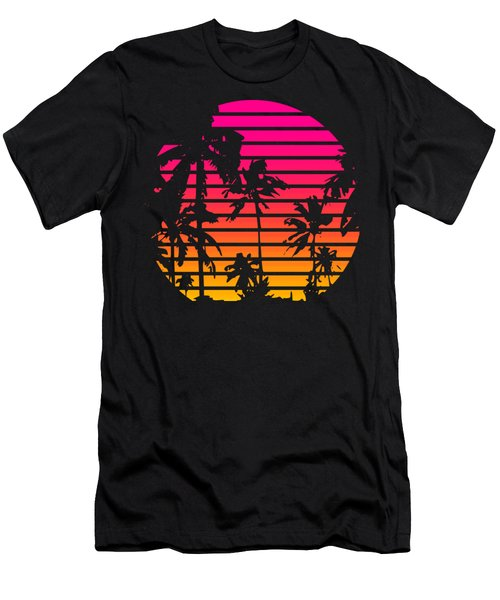 80s Tropical Sunset Men's T-Shirt (Athletic Fit)