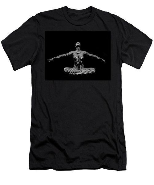 9928-dja Zebra Striped Woman Lotus Arms Out Abstract Black And White By Chris Maher Men's T-Shirt (Athletic Fit)