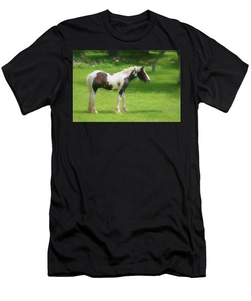 A Beautiful Young Gypsy Vanner Standing In The Pasture Men's T-Shirt (Athletic Fit)