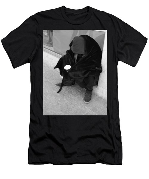 Men's T-Shirt (Athletic Fit) featuring the photograph A Beggar In Jerusalem by Esther Newman-Cohen