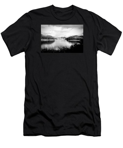 Men's T-Shirt (Slim Fit) featuring the photograph A Black And White Landscape On The Nantahala River by Kelly Hazel