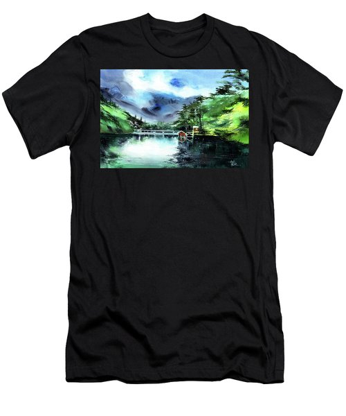 Men's T-Shirt (Slim Fit) featuring the painting A Bridge Not Too Far by Anil Nene
