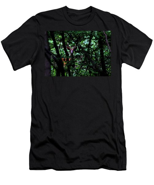 A Buck Peers From The Woods Men's T-Shirt (Athletic Fit)