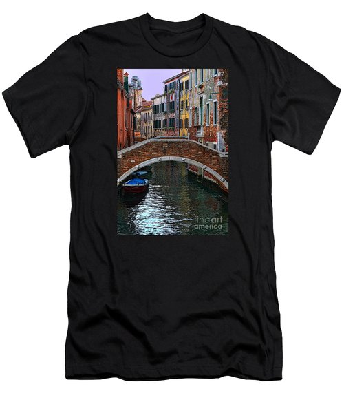 A Canal In Venice Men's T-Shirt (Slim Fit) by Tom Prendergast