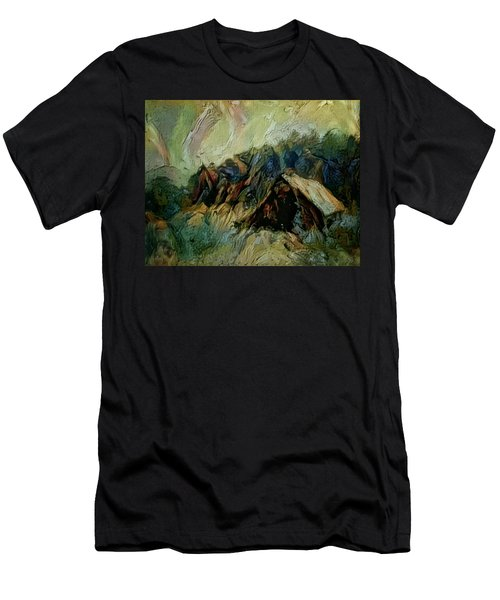 Men's T-Shirt (Slim Fit) featuring the painting A Chance In The World Movie Dark Barn Crowded Into A Gully Between A Large Rocky Hill And A Grove Of by Mendyz