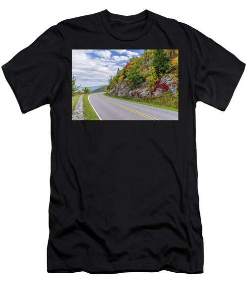 Men's T-Shirt (Athletic Fit) featuring the photograph A Colorful Curve On Skyline Drive by Lori Coleman