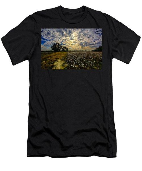 A Cotton Field In November Men's T-Shirt (Slim Fit) by John Harding