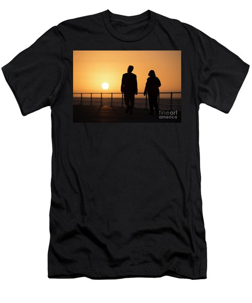 A Couple In Silhouette Walking Into The Sunset Men's T-Shirt (Athletic Fit)