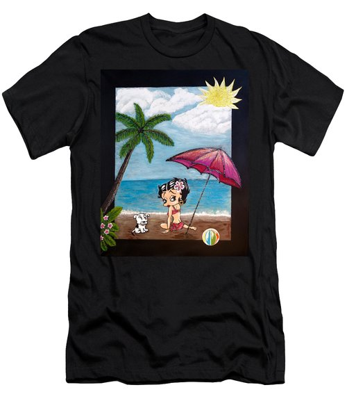 Men's T-Shirt (Slim Fit) featuring the painting A Day At The Beach by Teresa Wing