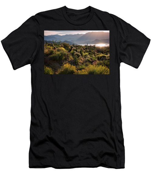 Men's T-Shirt (Slim Fit) featuring the photograph A Desert Spring Morning  by Saija Lehtonen