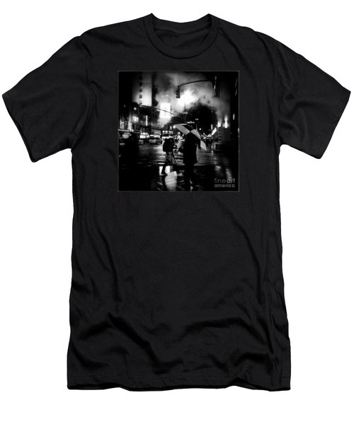 A Foggy Night In New York Town - Checkered Umbrella Men's T-Shirt (Athletic Fit)
