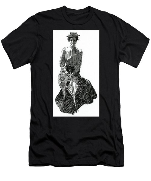 A Gibson Girl With Parasol Men's T-Shirt (Athletic Fit)