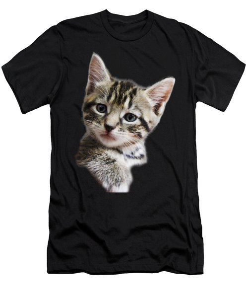 A Kittens Helping Hand On A Transparent Background Men's T-Shirt (Slim Fit) by Terri Waters