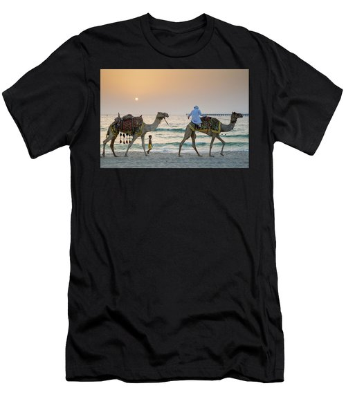 A Little Boy Stares In Amazement At A Camel Riding On Marina Beach In Dubai, United Arab Emirates Men's T-Shirt (Athletic Fit)