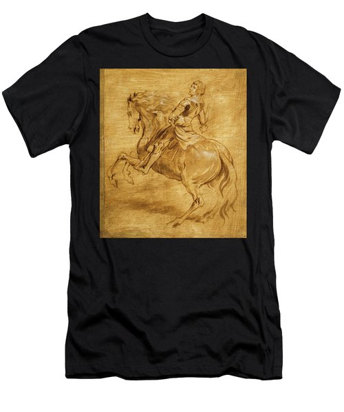 Men's T-Shirt (Slim Fit) featuring the painting A Man Riding A Horse by Anthony van Dyck