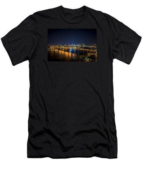 Men's T-Shirt (Athletic Fit) featuring the photograph A New York City Night by Johnny Lam