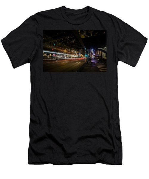 a nighttime look at Chicago's busy State and Lake Intersection Men's T-Shirt (Athletic Fit)