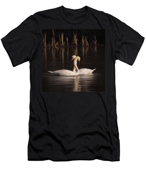 A Painting Of A Pair Of Mute Swans Men's T-Shirt (Slim Fit) by John Edwards