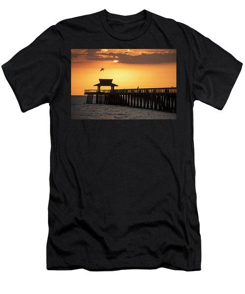 A Pelican Dive-bomb At The Naples Pier Naples Fl Men's T-Shirt (Athletic Fit)