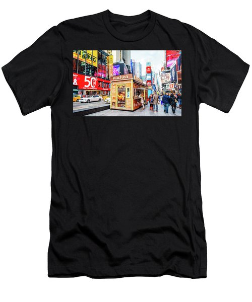 A Portable Food Stand In New York Times Square Men's T-Shirt (Athletic Fit)