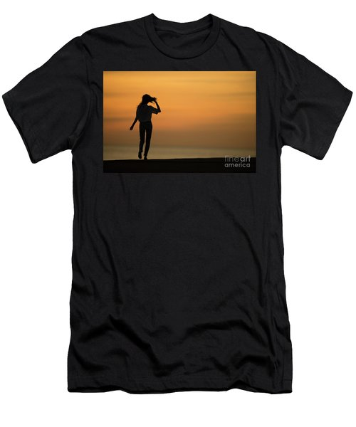 A Slim Woman Walking At Sunset Men's T-Shirt (Athletic Fit)