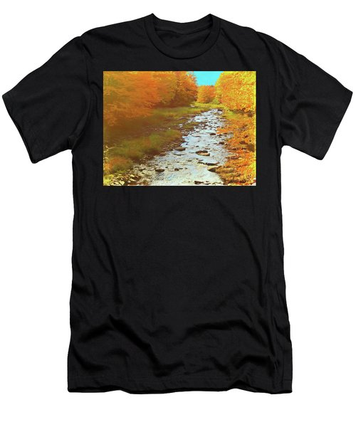 A Small Stream Bright Fall Color. Men's T-Shirt (Athletic Fit)