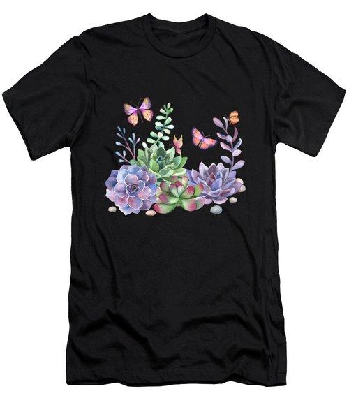 A Splendid Secret Succulent Garden With Butterfly Visitors Men's T-Shirt (Athletic Fit)