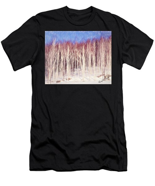 A Stand Of White Birch Trees In Winter. Men's T-Shirt (Athletic Fit)