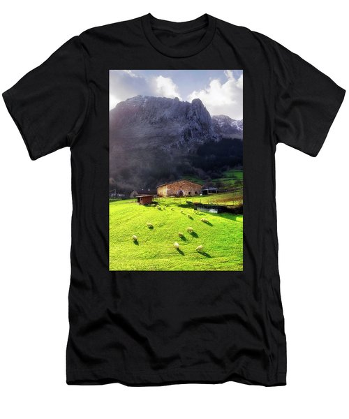 A Typical Basque Country Farmhouse With Sheep Men's T-Shirt (Athletic Fit)