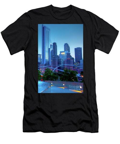 A View Of Millenium Park From The Amoco Bridge In Chicago At Dus Men's T-Shirt (Athletic Fit)