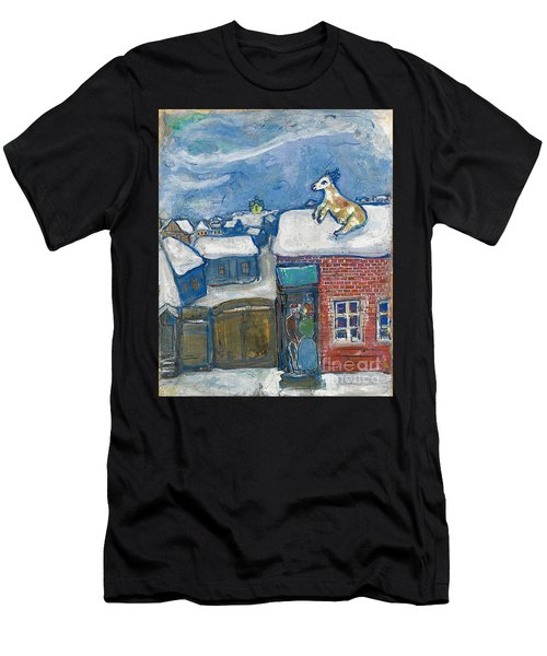 A Village In Winter Men's T-Shirt (Athletic Fit)